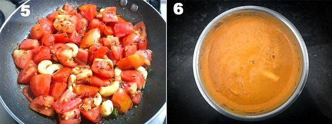 Step by Step picture collage of making of paneer butter masala.