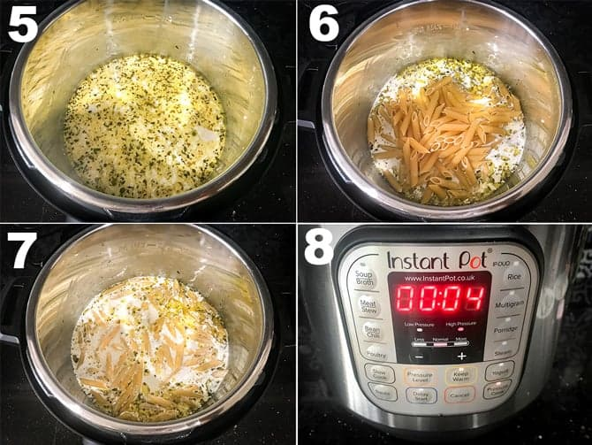 Step by Step picture collage to make chicken Alfredo recipe in Instant Pot.