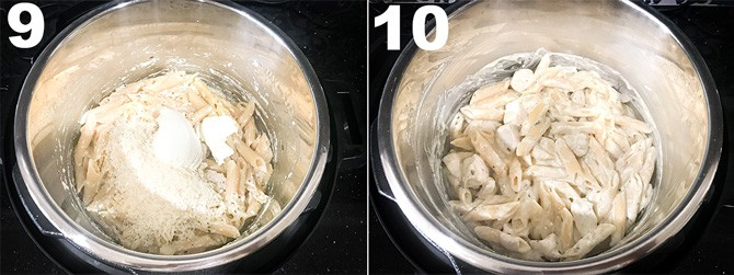 Step by Step picture collage to make chicken Alfredo pasta recipe in Instant Pot.