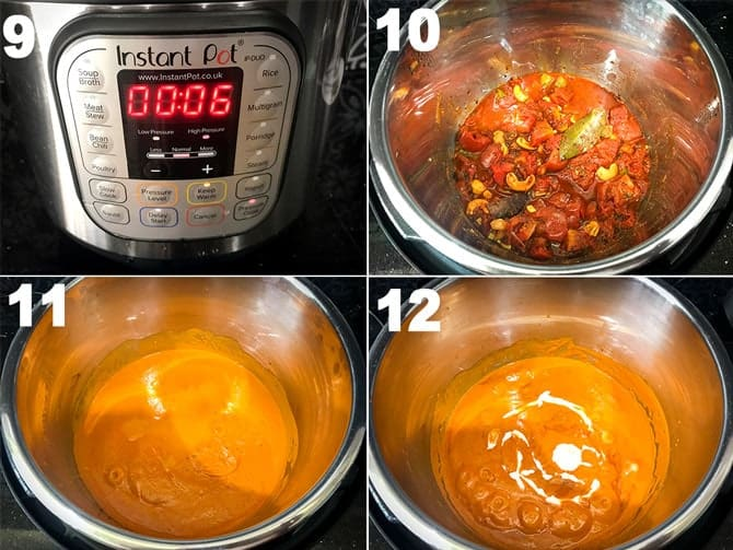 Step by Step picture collage of making of paneer butter masala in Instant Pot.
