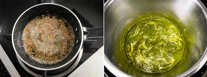 Step by step collage process of making palak paneer in Instant pot.