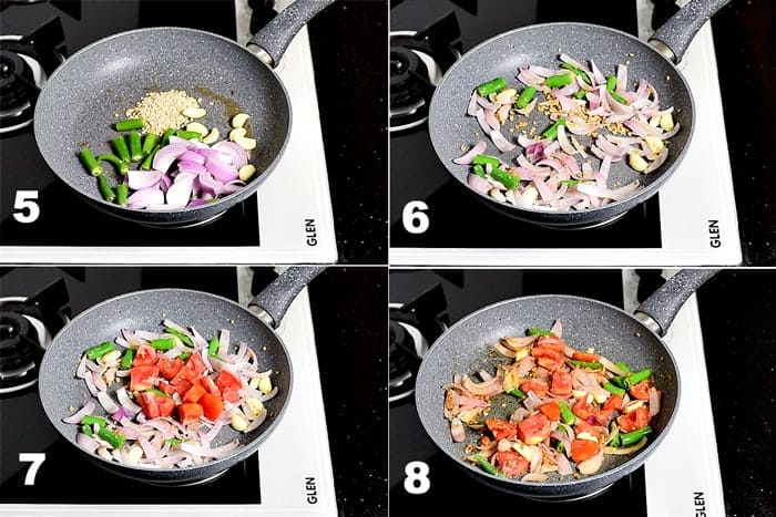 Step by Step picture collage of roasting onion, tomato, garlic, urad dal and green chilli in pan.