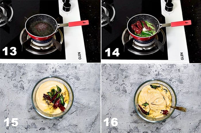 Step by Step picture collage of tempering the palli chutney.