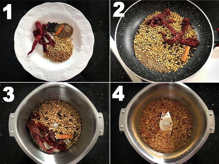 Step by step photos of making kadai masala powder.