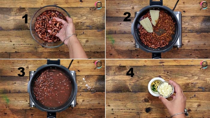 Step by step picture to soak and boil the kidney beans.