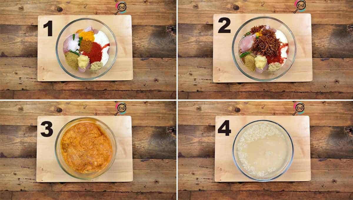Step by step picture collage to show chicken marination and soaking rice.