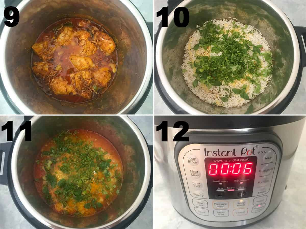 Collage of steps showing the layering of rice over chicken in the instant Pot.