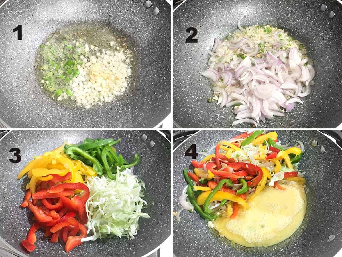 Picture collage of steps to show the tossing of vegetables and eggs for Hakka noodles.