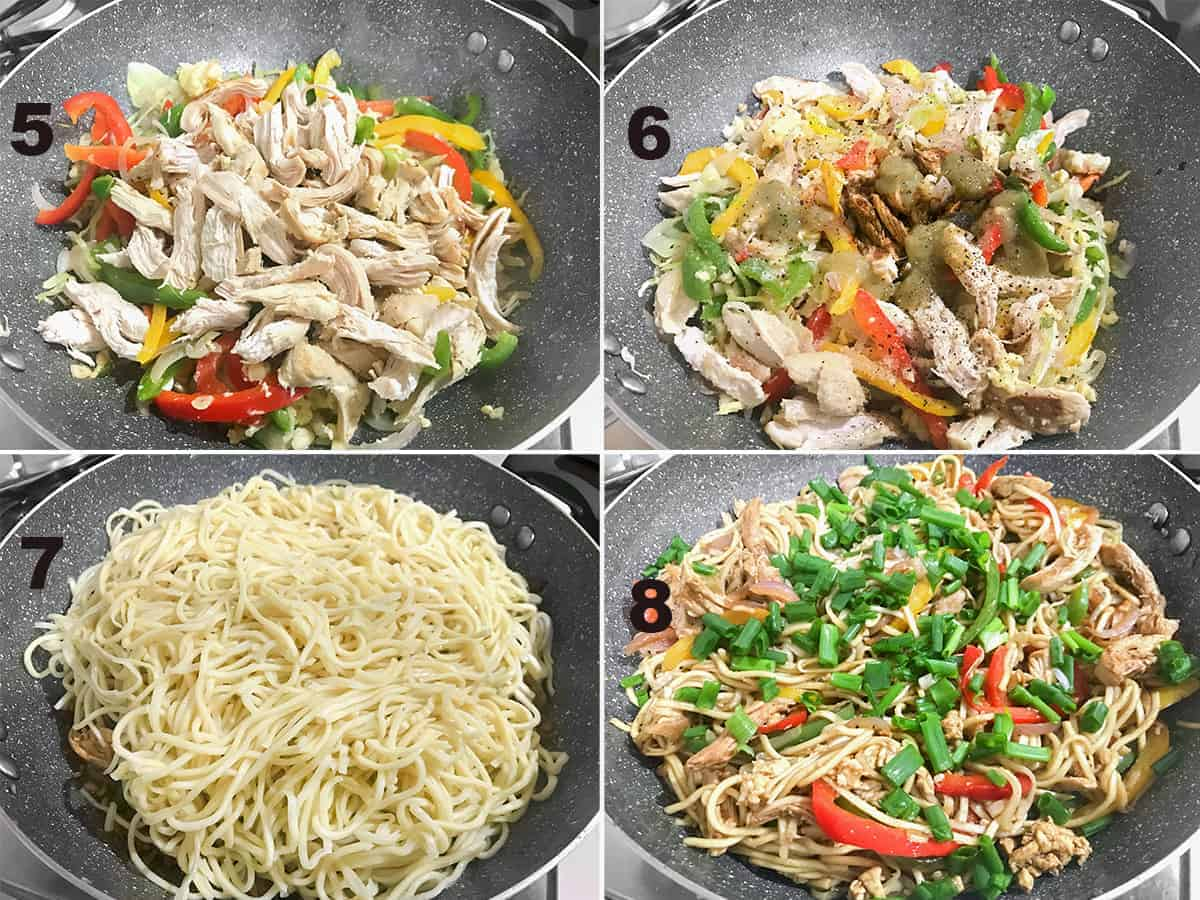 Picture collage of steps to show the tossing of cooked Hakka noodles and chicken.