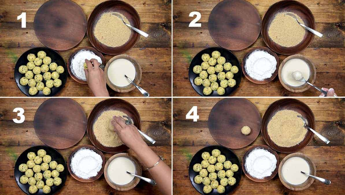 Step by step collage to coat the corn cheese balls.