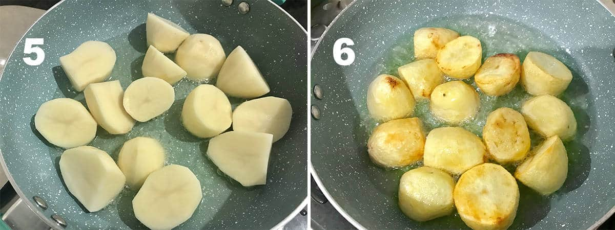 Frying the potato cubes in pan.