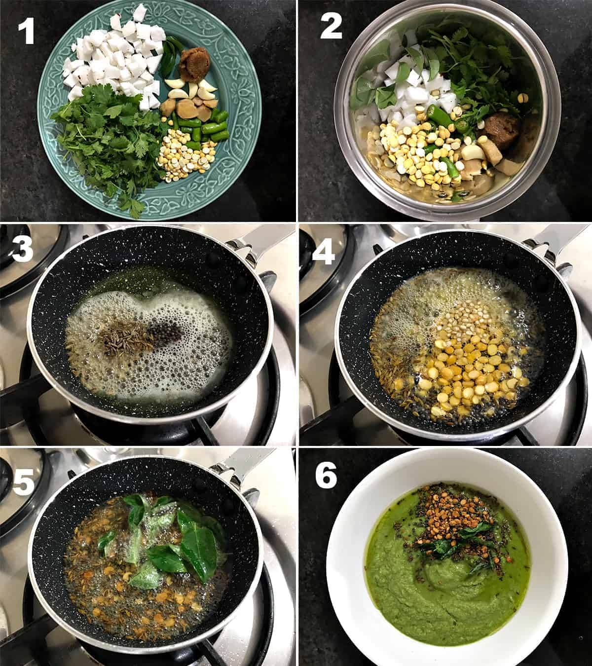 Step by Step picture collage to show how to make green coconut chutney.