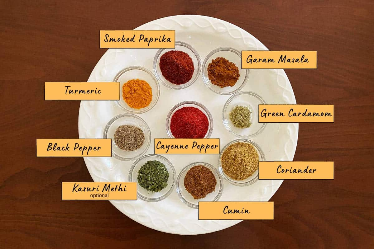 Image of spice powder ingredients for Instant Pot Butter Chicken.