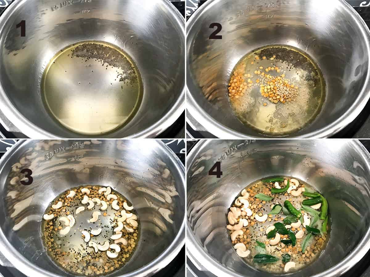 Step by step picture collage to show the making of Rava Upma in Instant Pot.