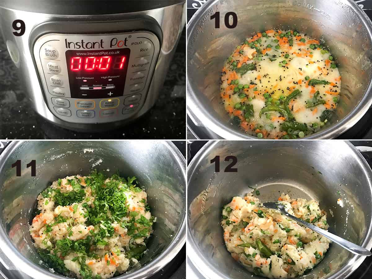 Step by step picture of making Rava Upma in Instant Pot.