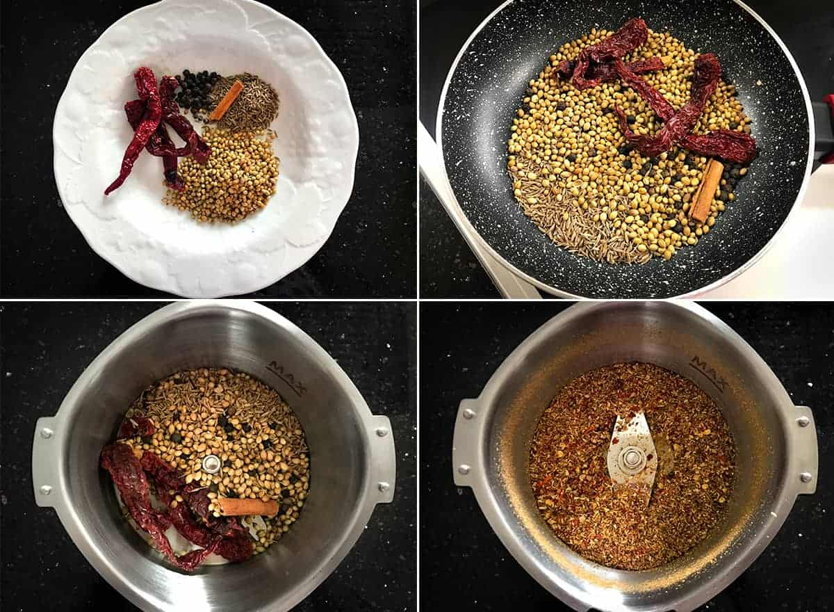 Step by step collage picture of making kadai masala powder.