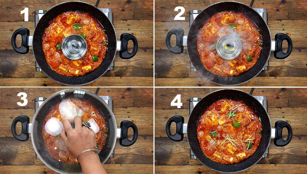Step by step picture collage of giving charcoal smoke to Kadai Paneer gravy.