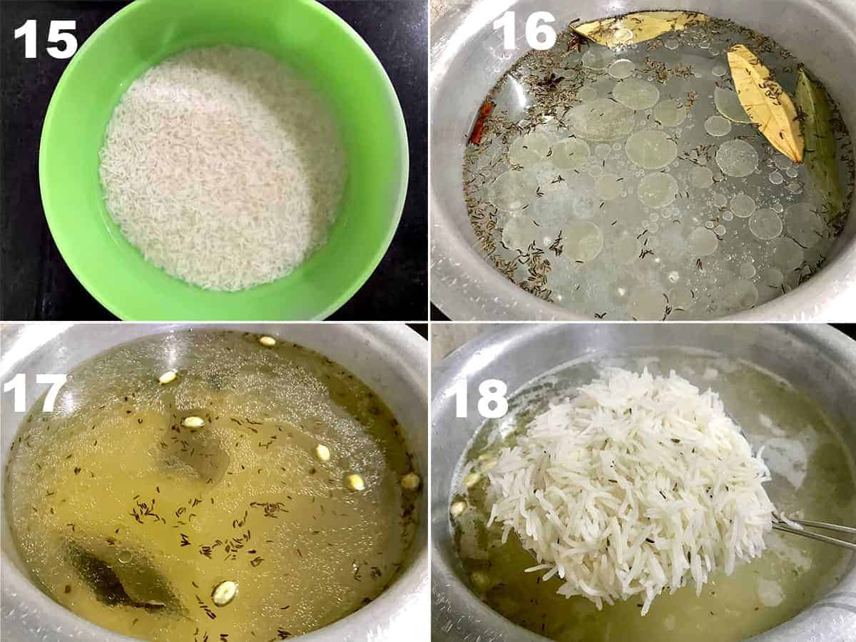 Step by step picture collage of boiling the rice for meat biryani.