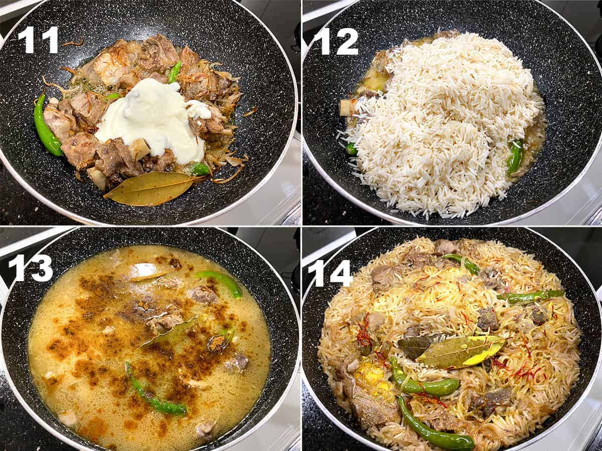 Step by Step picture collage of making Mutton Yakhni Pulao.
