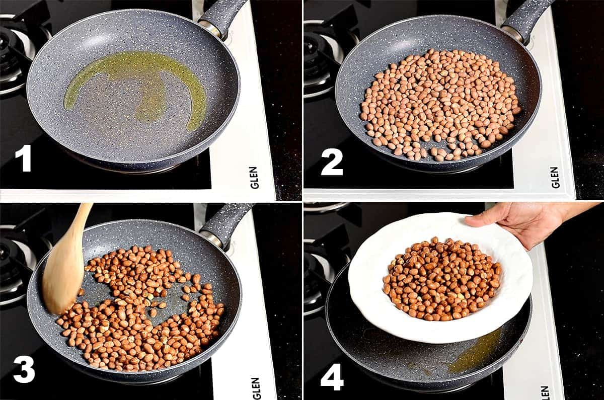 Picture collage of roasting peanuts in oil in pan.