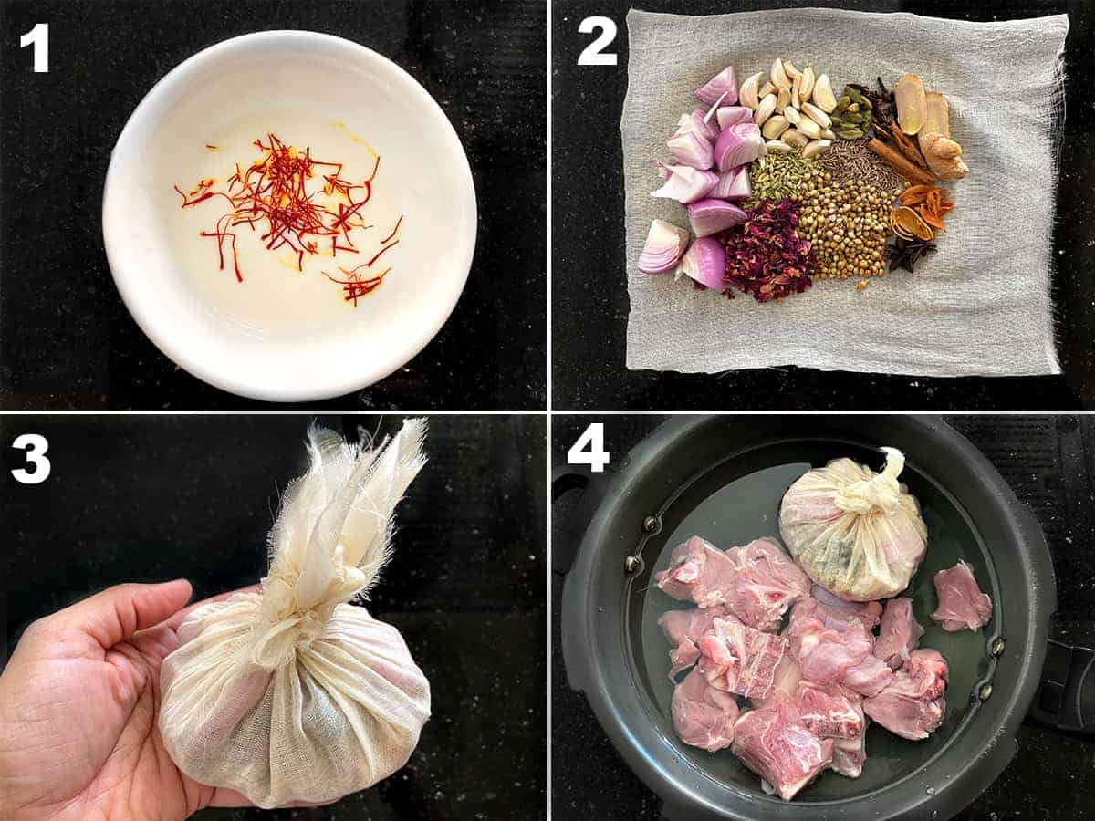 Step by step collage for the preparation of Meat Pulao.