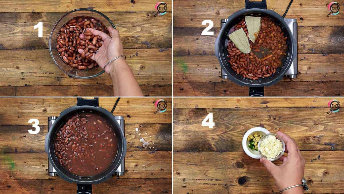 Step by step picture collage showing how to make rajma on stove top.