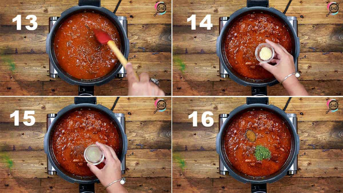 Step by step picture collage showing how to make rajma recipe on stove top.