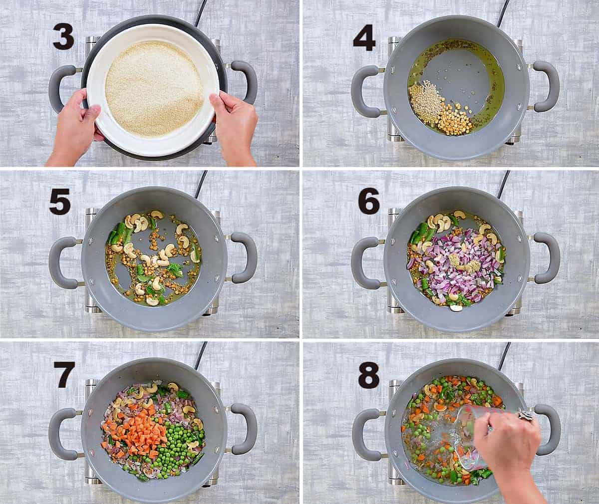 Step by step collage of making Rava Upma recipe in pan on stove top.
