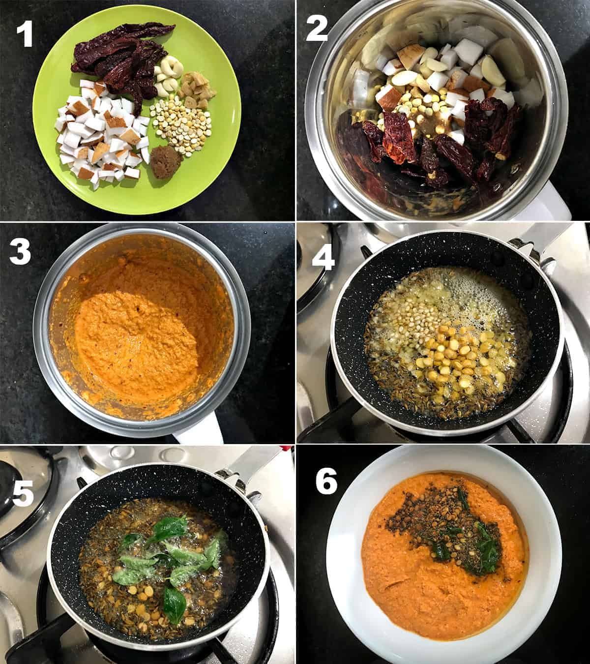 Step by Step picture collage to show how to make Red Coconut Chutney.