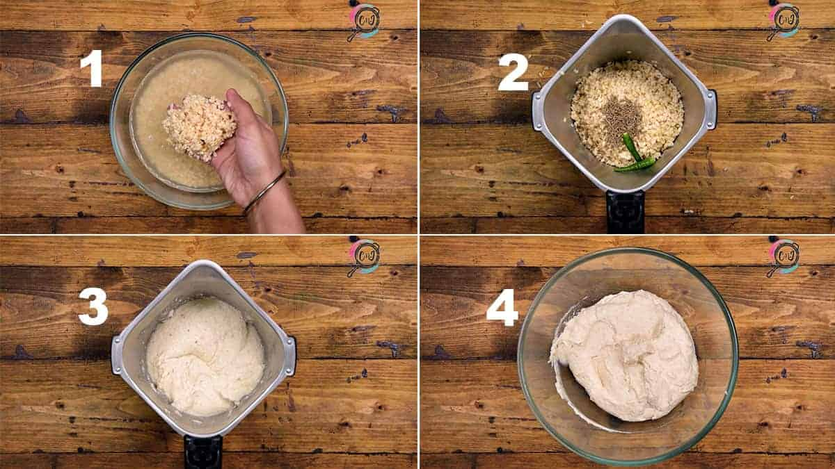 Step by Step picture collage of grinding the dal for Dahi Vada recipe.