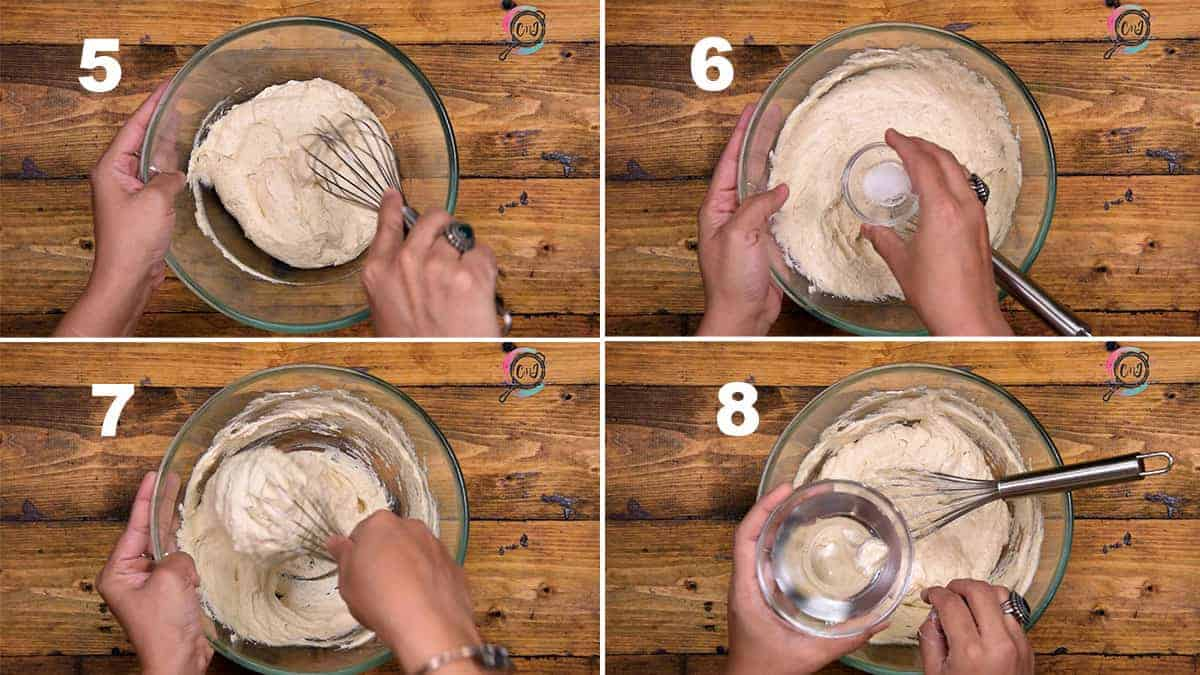 Step by Step picture collage of whisking the dal batter to make Dahi Vada recipe.