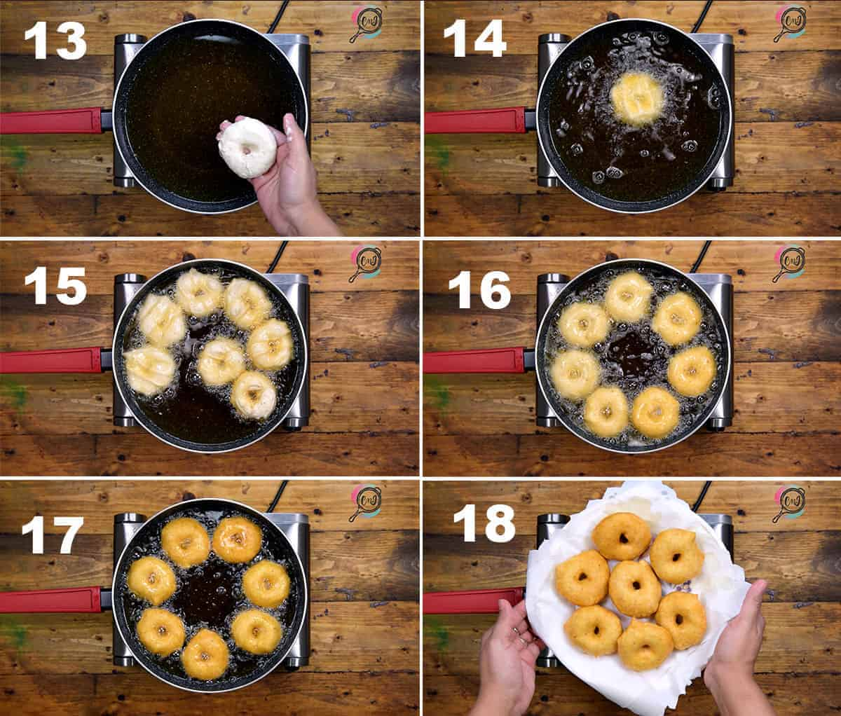 Step by Step picture collage of frying the vadas.