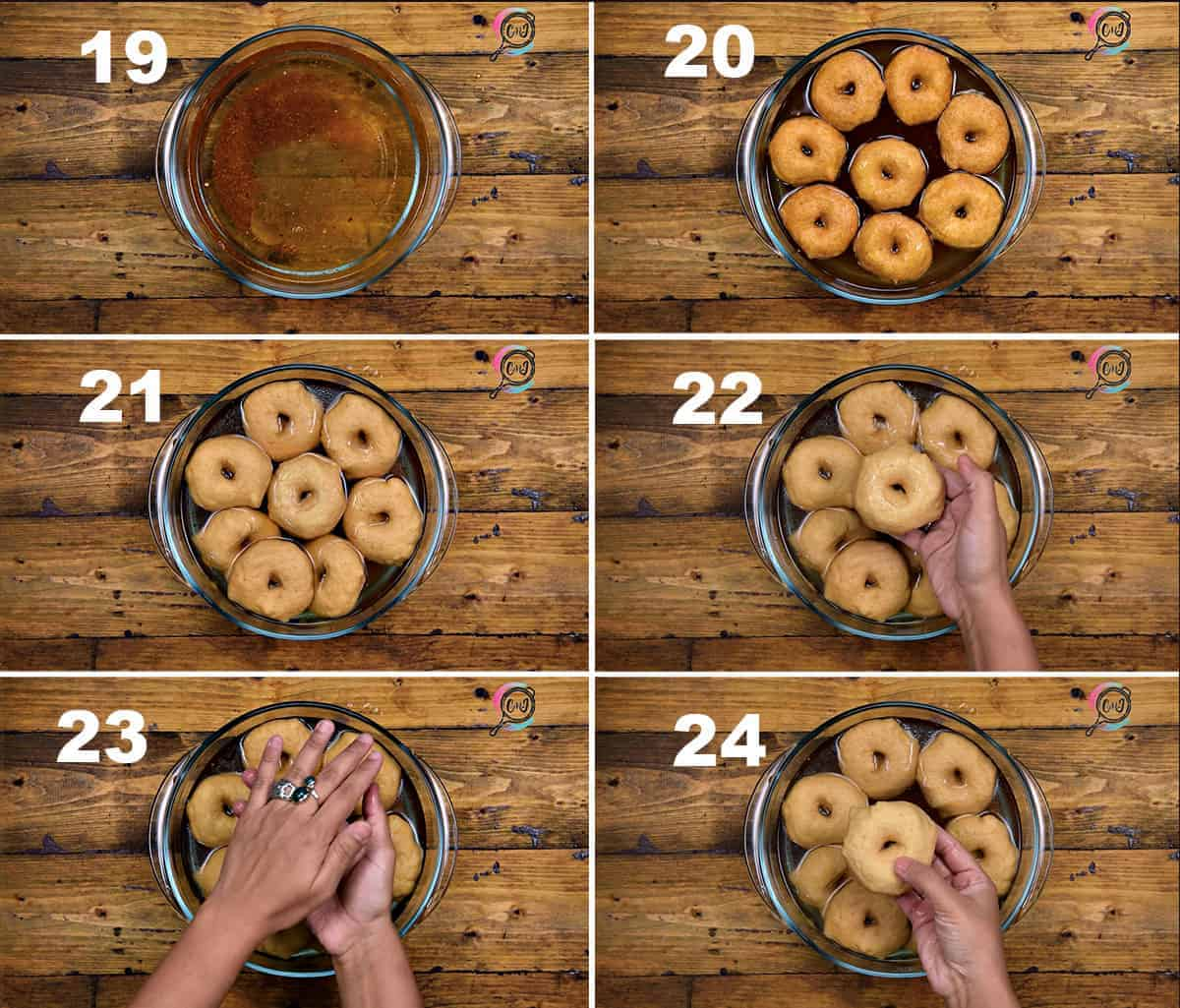 Step by step collage process to soak fried vadas in water.