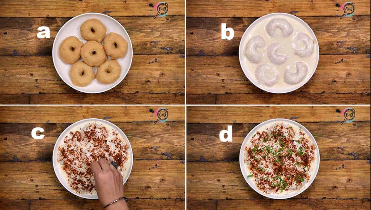 Step by step collage to assemble Dahi Vada without chutney.