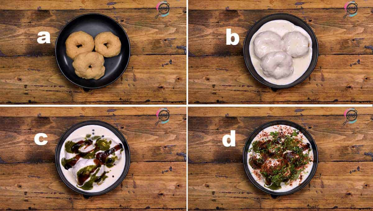 Step by step collage to assemble Dahi Vada with spicy and sweet chutney.