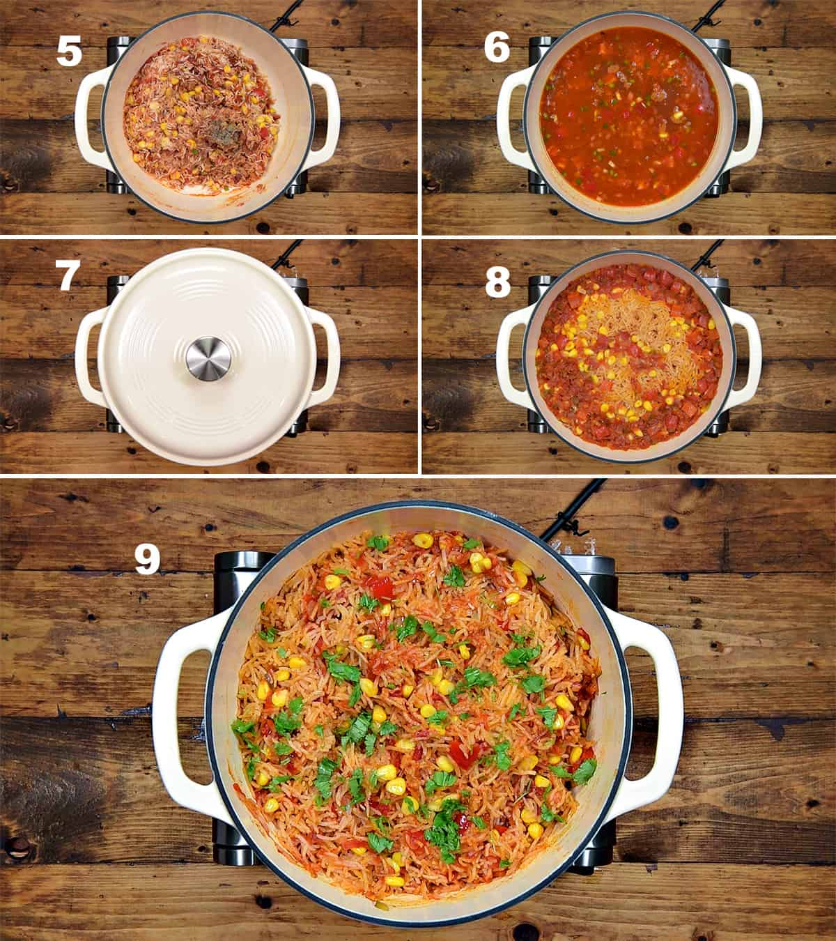 Step by step picture collage of making Mexican rice in dutch oven.