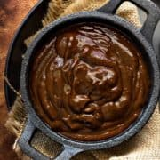 Authentic Homemade Chinese hoisin sauce in black bowl.