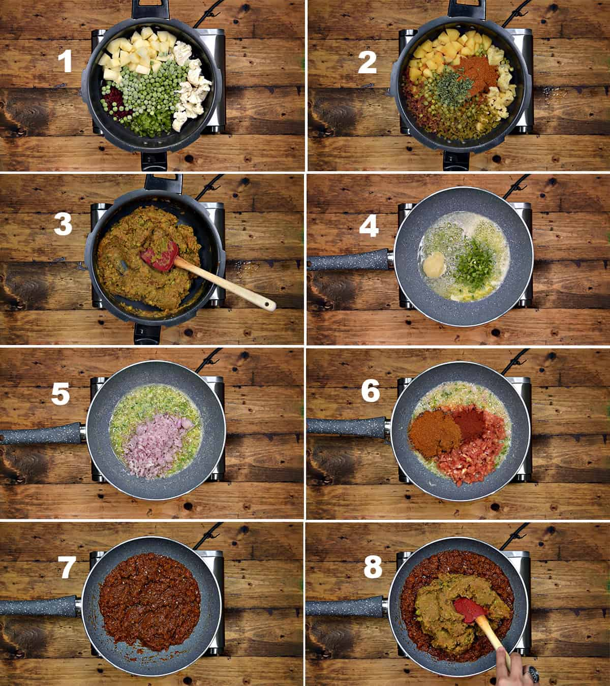 Step by Step picture collage showing how to make pav bhaji in pan at home.