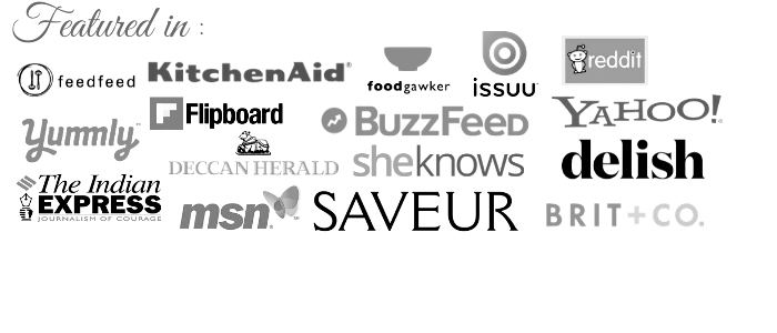 Banner displaying popular websites like yahoo, kitchenaid, Buzzfeed and more that features content from Cubes N Juliennes