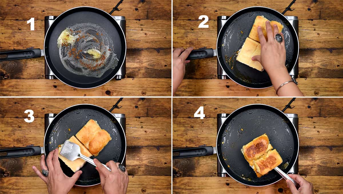 Step by step picture collage showing the frying of buns in butter for pav bhaaji.