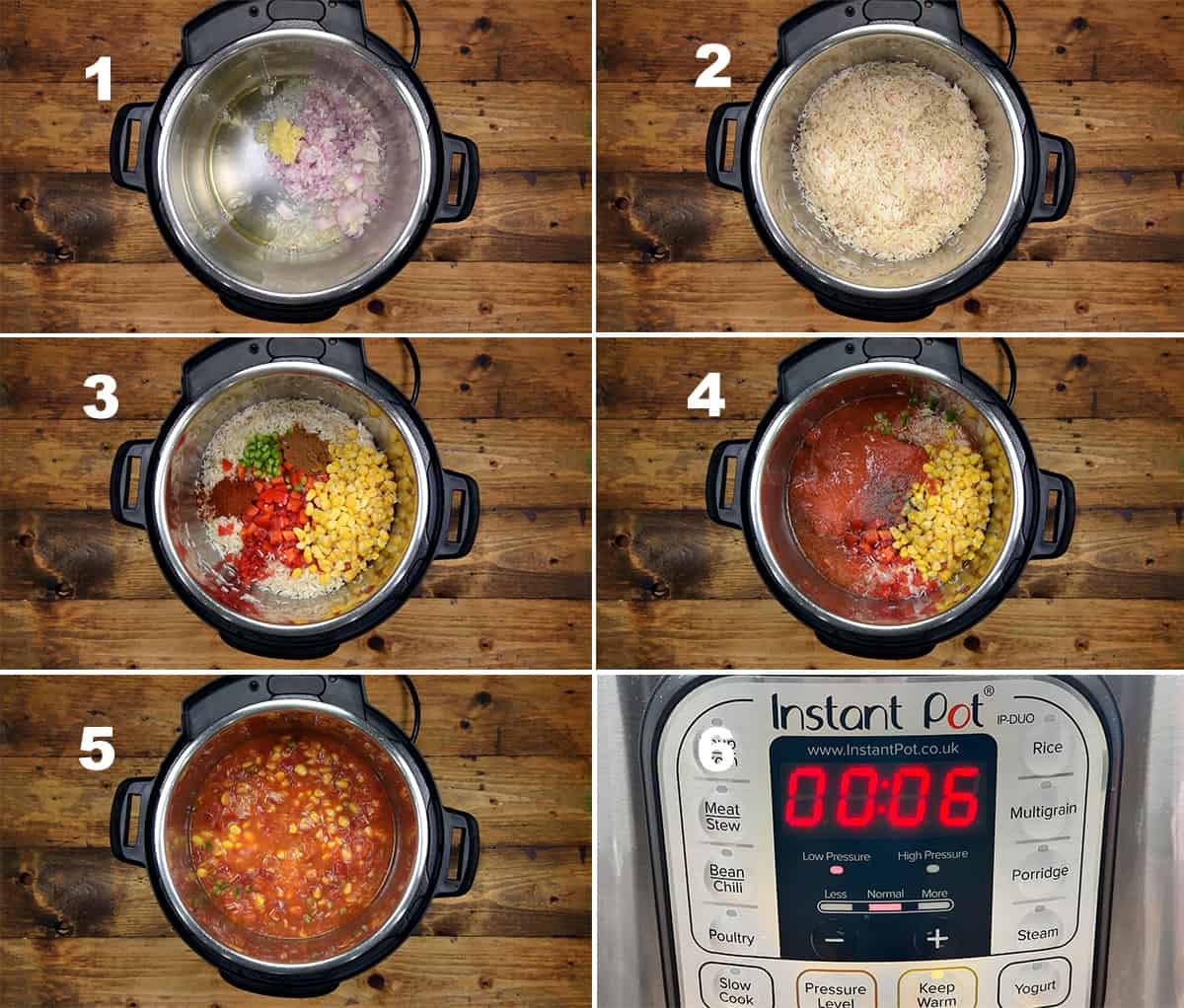 Step by step picture collage of making Mexican rice in Instant Pot.