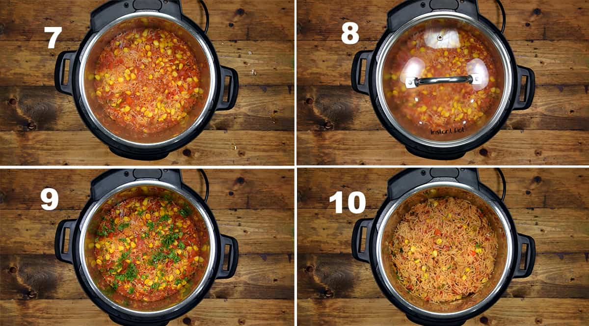 Step by step picture collage showing how to make Mexican rice in Instant Pot.
