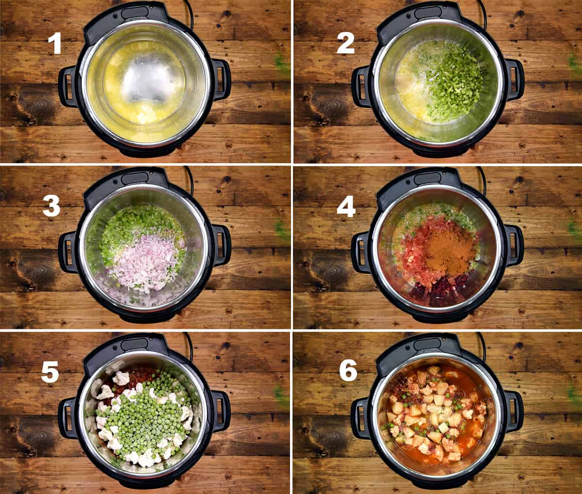 Step by step picture collage showing how to make bhaji in the Instant Pot.