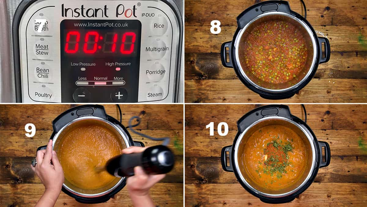 Step by Step picture collage to show the making of pav bhaji in the Instant Pot.