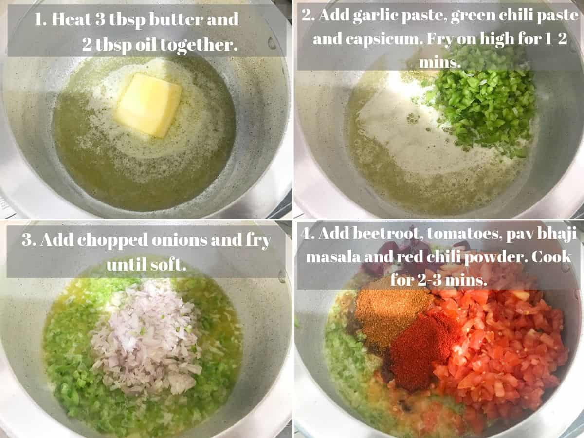 Step by step picture collage of making pav bhaji recipe in the pressure cooker.