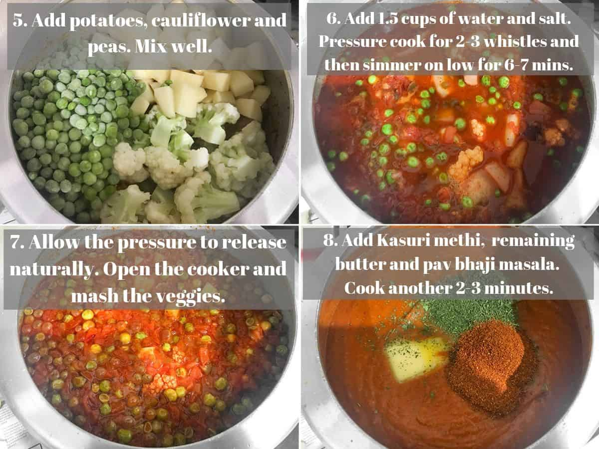Step by step picture collage of making bhaji recipe in the pressure cooker.