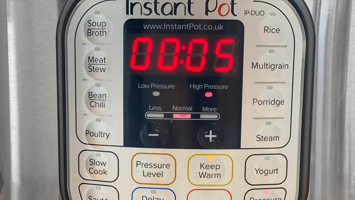 Instant Pot set to 5 minutes timer on High pressure.