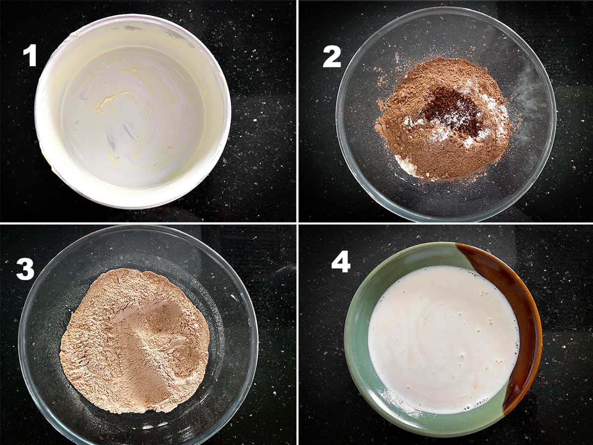 Step by step picture collage showing greasing of cake tin and sifting the flour.