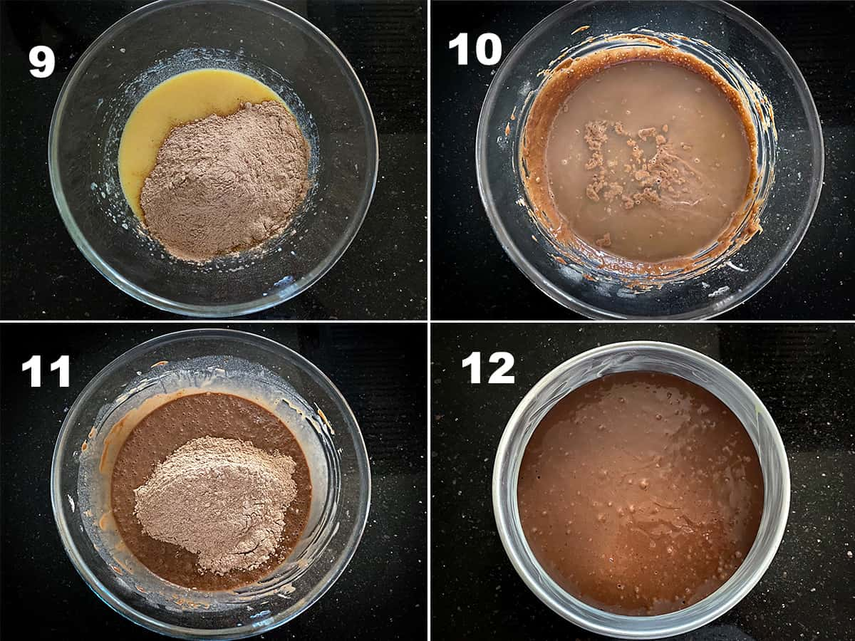 Step by step picture collage showing how to make chocolate cake batter.
