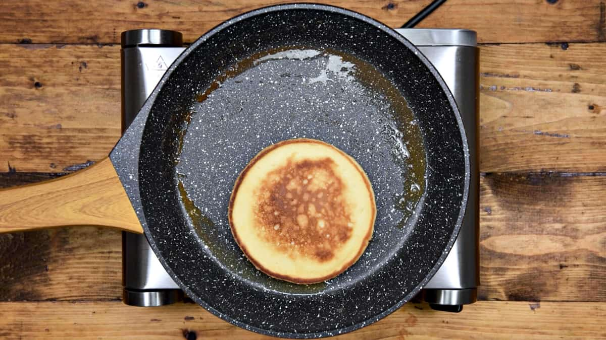 Cooked pancake in pan ready to serve.